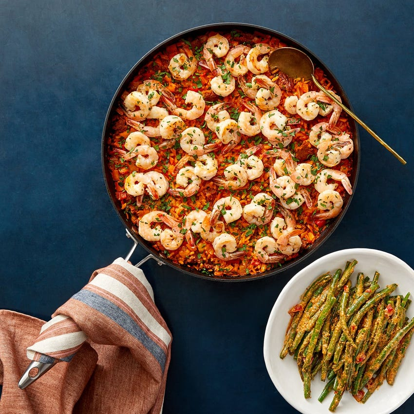 Shrimp & Chorizo Paella with Green Beans & Creamy Romesco Sauce