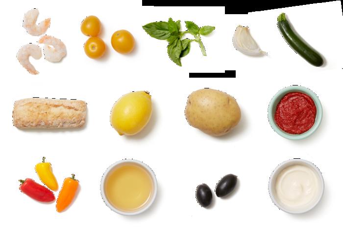 Shrimp & Provençal-Style Vegetables with Summer Squash & Aioli
