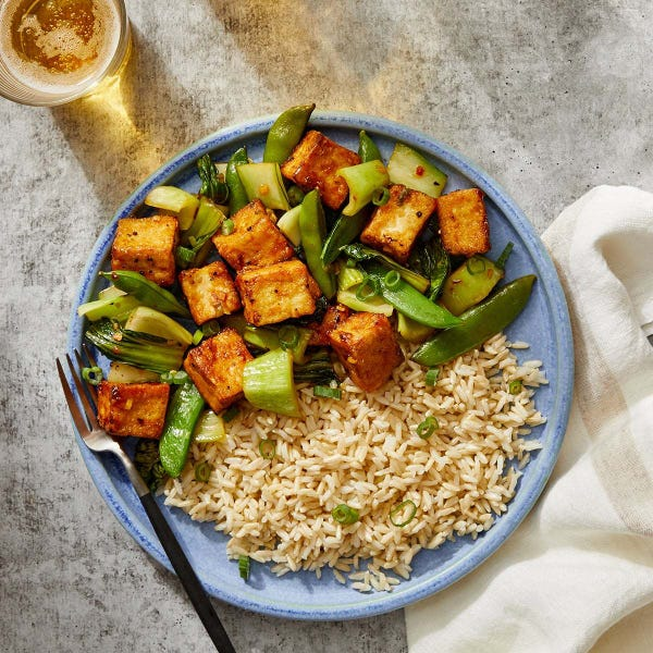 General Tso's-Style Tofu with Snap Peas & Brown Rice