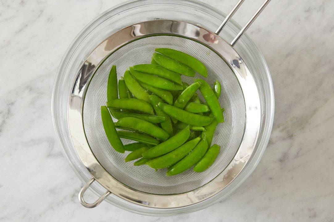 Blanch & shock the snap peas:
