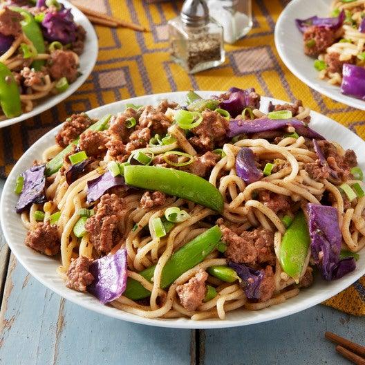 Beef Lo Mein with Black Garlic & Sugar Snap Peas