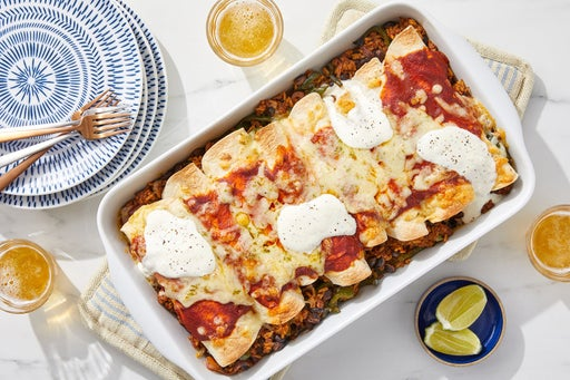 Cheesy Turkey Enchiladas Rojas with Spiced Rice & Black Beans