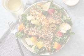 Spiced Chicken & Kale Salad with Parmesan Breadcrumbs & Salsa Verde Dressing