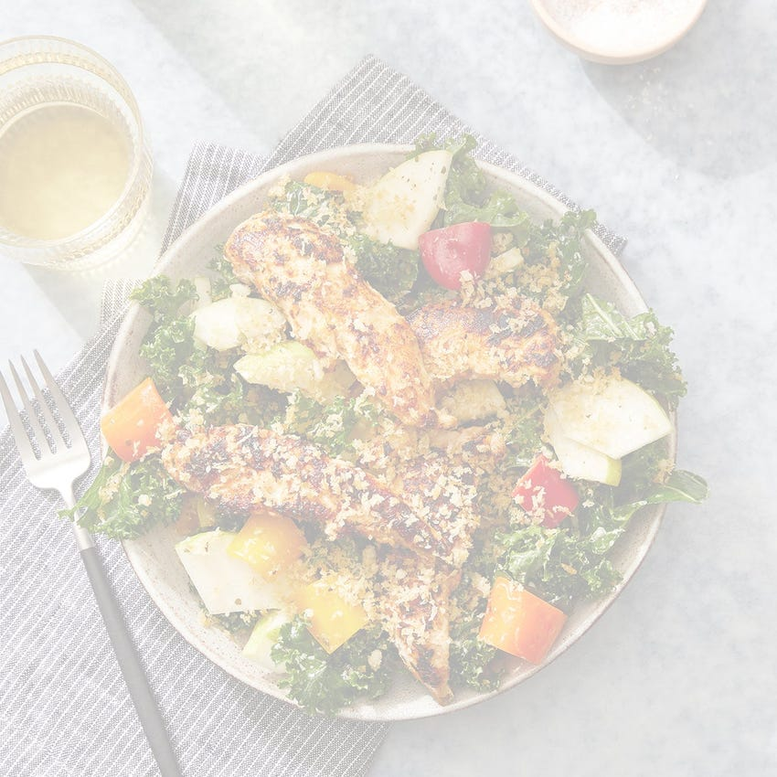 Spiced Chicken & Kale Salad with Parmesan Breadcrumbs & Salsa Verde Dressing