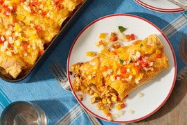 Corn & Cheddar Enchiladas with Sweet Pepper Salsa