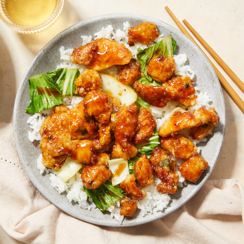 General Tso's Chicken with Rice & Bok Choy