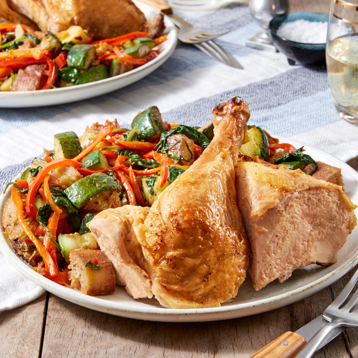 Roasted Chicken & Panzanella Salad with Sweet Peppers & Summer Squash