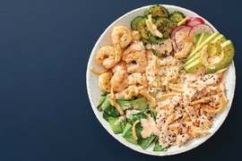 Salmon & Shrimp Poke Bowl with Avocado & Spicy Mayo