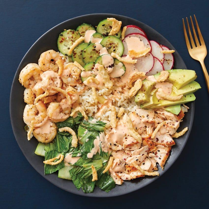 Salmon & Shrimp Poke Bowl with Avocado & Spicy Mayo