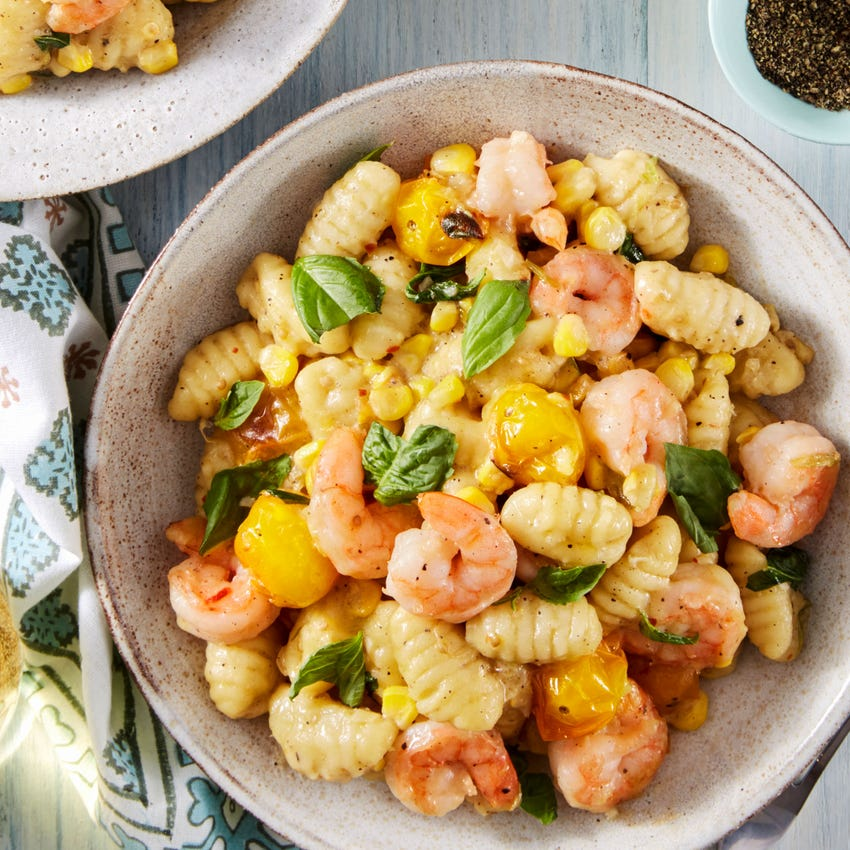 Shrimp & Fresh Gnocchi with Corn, Basil, & Cherry Tomatoes