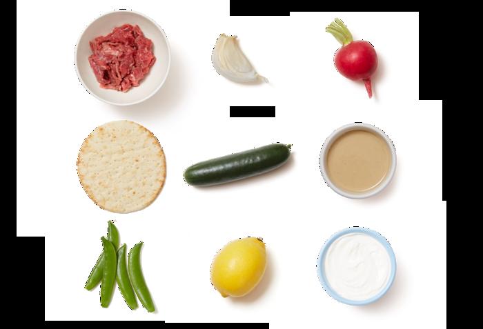 Marinated Beef Pitas with Sugar Snap Pea & Radish Salad