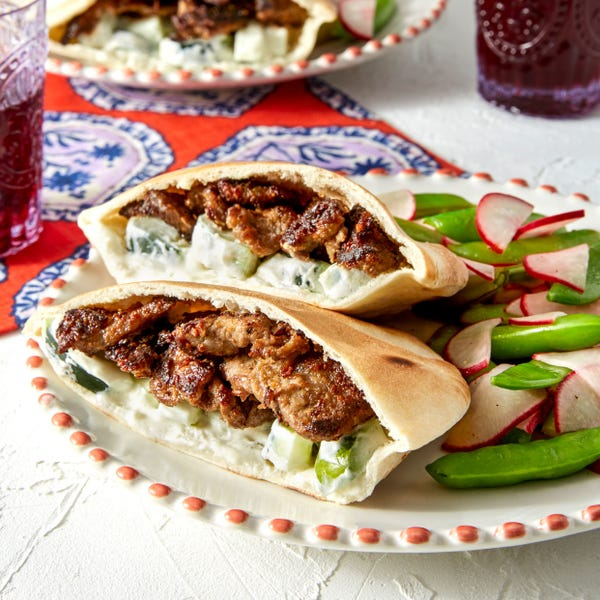 Marinated Beef Pitas with Sugar Snap Pea & Radish Salad