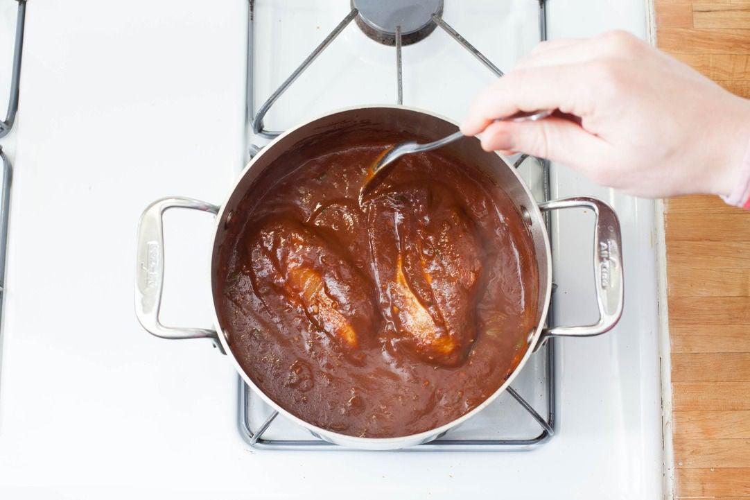 Finish the mole sauce: