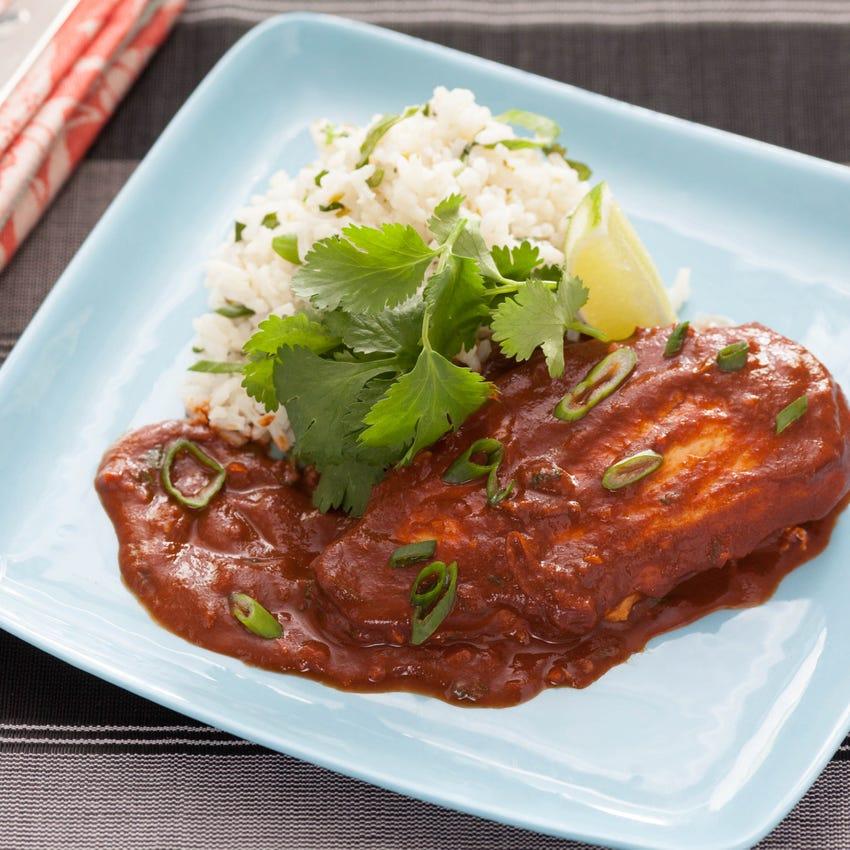 Mexican Chicken Mole with Lime-Cilantro Rice