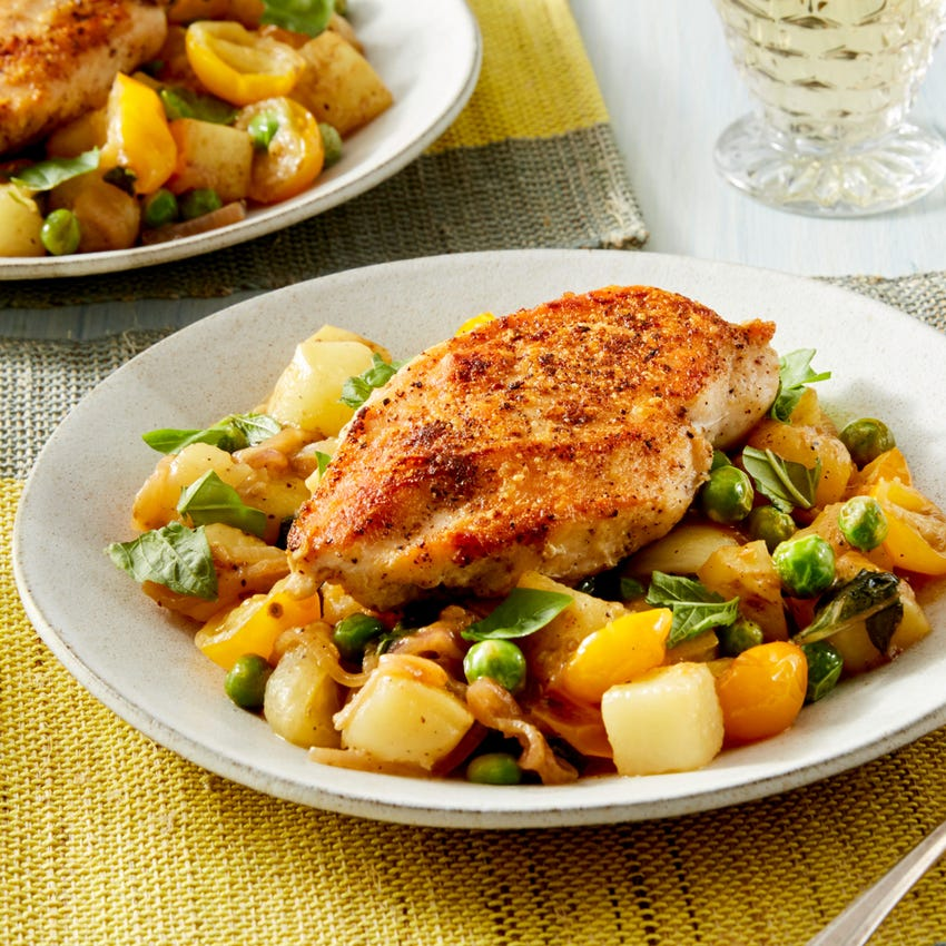 Seared Chicken & Vegetable Ragoût with Cherry Tomatoes, English Peas, & Potatoes