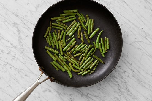 Cook the green beans & finish the vegetables: