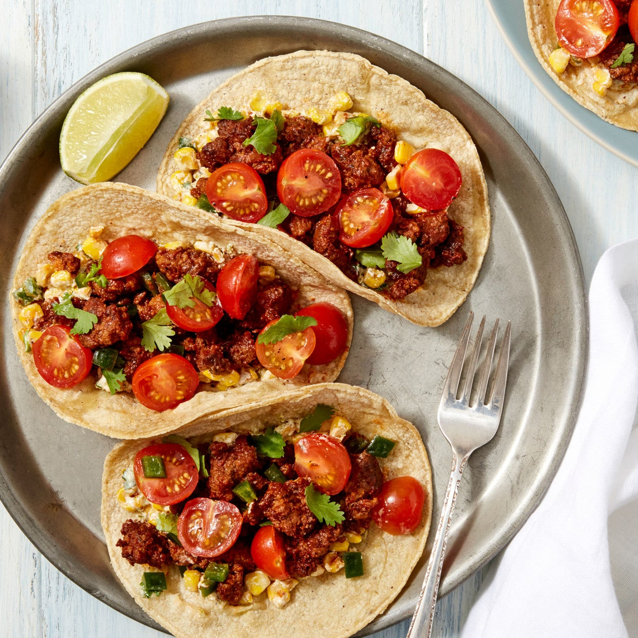 Spicy Beef Tacos with Cherry Tomato Salsa & Creamy Corn