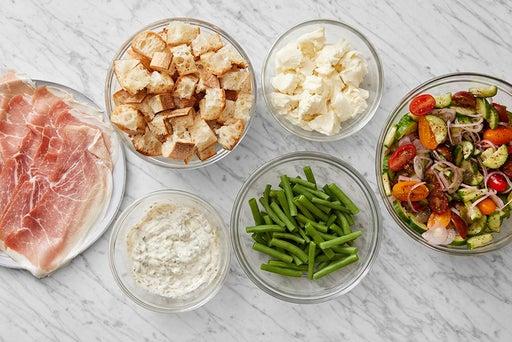 Prepare the ingredients & make the lemon-caper mayo: