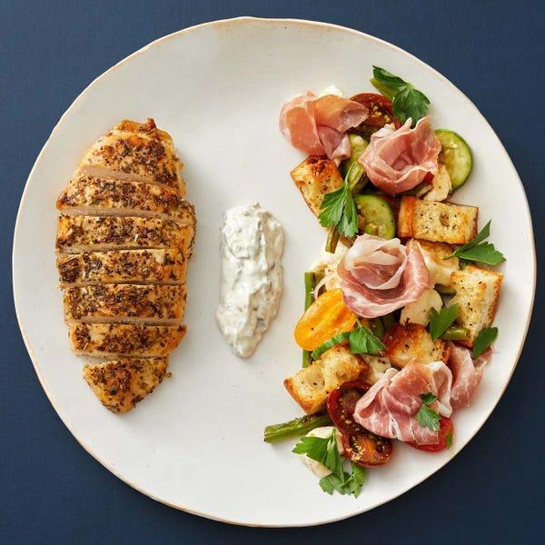 Italian Chicken & Prosciutto Panzanella with Lemon-Caper Mayo
