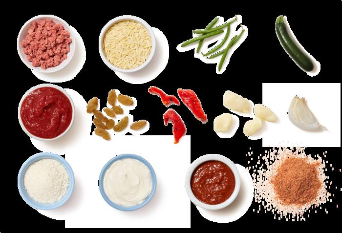 Meatballs & Harissa Tomato Sauce with Green Beans & Orzo Pasta