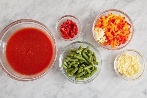 Prepare the ingredients & make the harissa tomato sauce:
