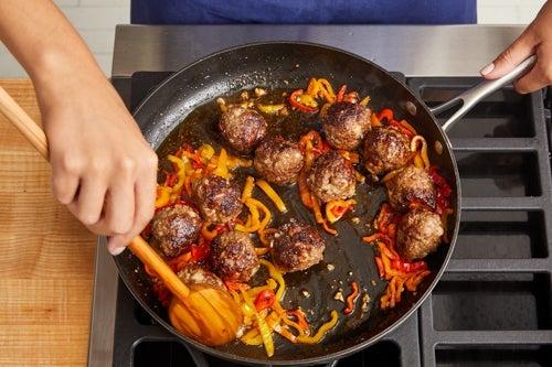 Brown the meatballs & zucchini: