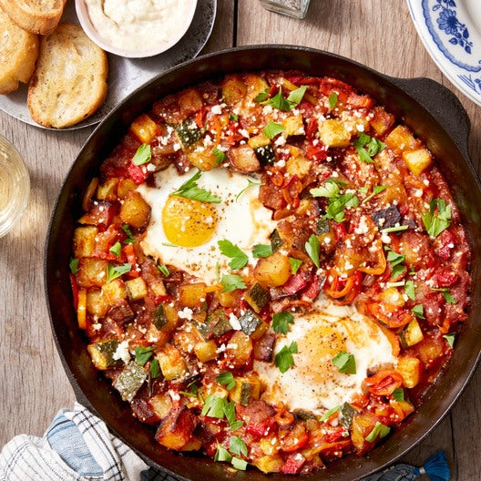Spanish Style recipe: spanish-style eggs with summer squash, piquillo peppers