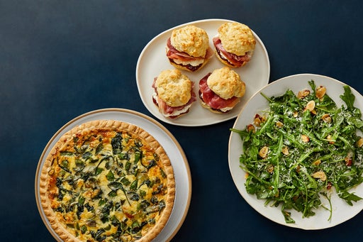 Cheesy Snap Pea & Spinach Quiche with Prosciutto-Fig Biscuits & Arugula Salad