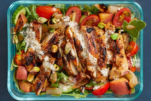 Finish and serve the Chicken, Peach & Arugula Salad: