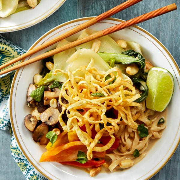 Coconut & Lemongrass Wonton Noodles with Mushrooms, Bok Choy, & Peanuts