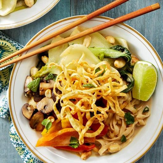 Coconut & Lemongrass Wonton Noodles with Mushrooms, Bok Choy, & Peanuts