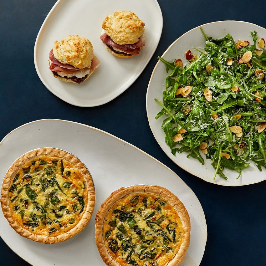 Cheesy Snap Pea & Spinach Quiche with Prosciutto-Fig Biscuits & Arugula Salad