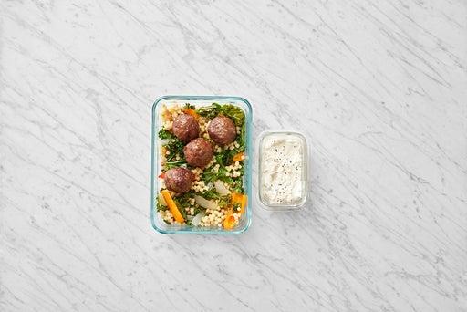 Assemble & store the Meatballs & Fregola Sarda Pasta: