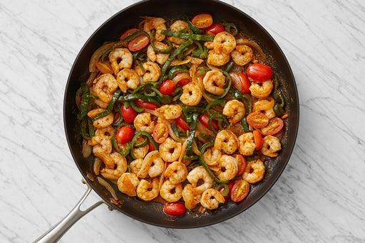 Cook the shrimp & vegetables: