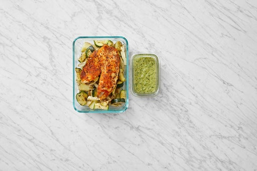 Assemble & Store the Roasted Tilapia & Vegetables: