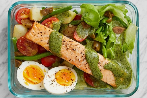 Finish & Serve the Salmon & Potato Salad: