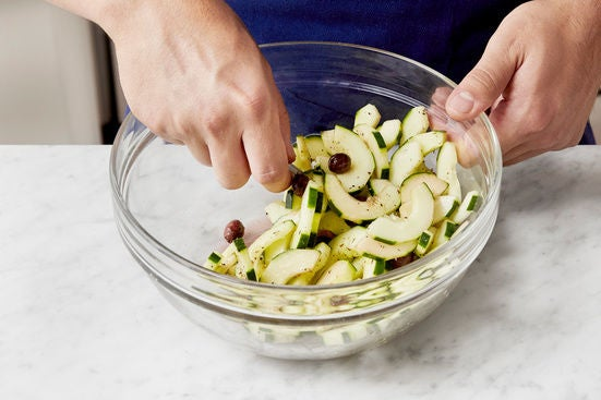 Marinate the cucumber & olives: