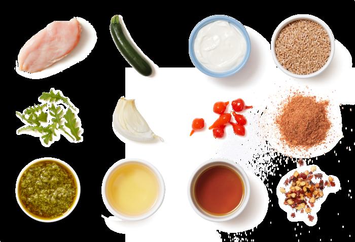 Smoky Chicken & Creamy Cilantro Sauce with Vegetable Farro