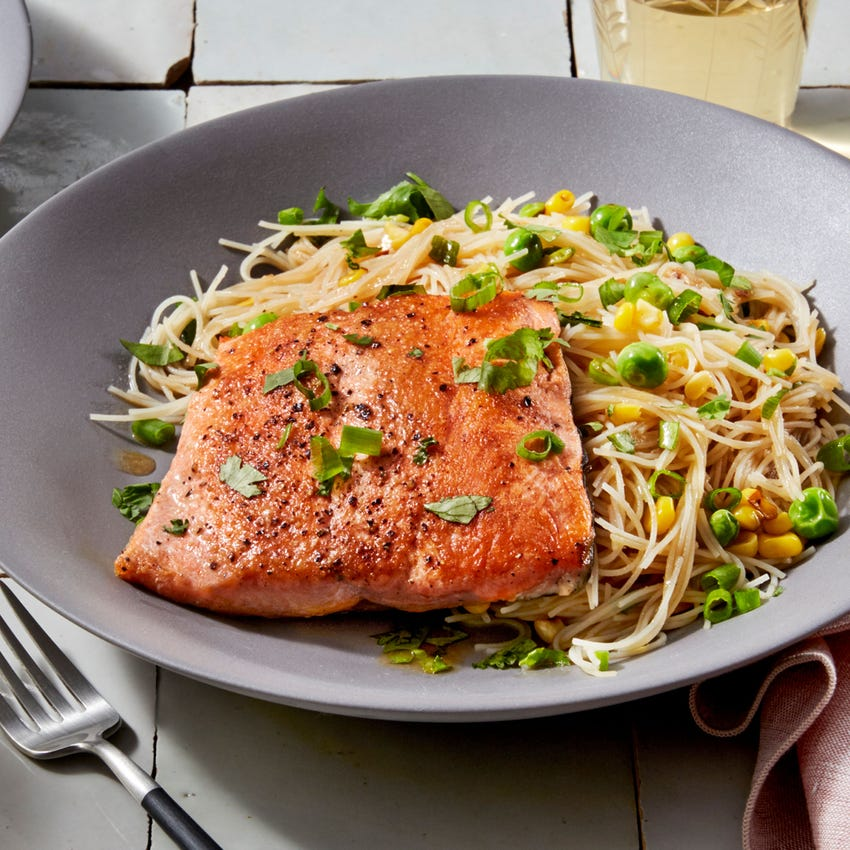 Seared Salmon & Soy Vermicelli Noodles with English Peas