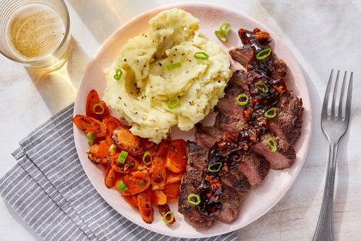 Seared Steaks & Mashed Potatoes with Sautéed Carrots & Homemade Steak Sauce