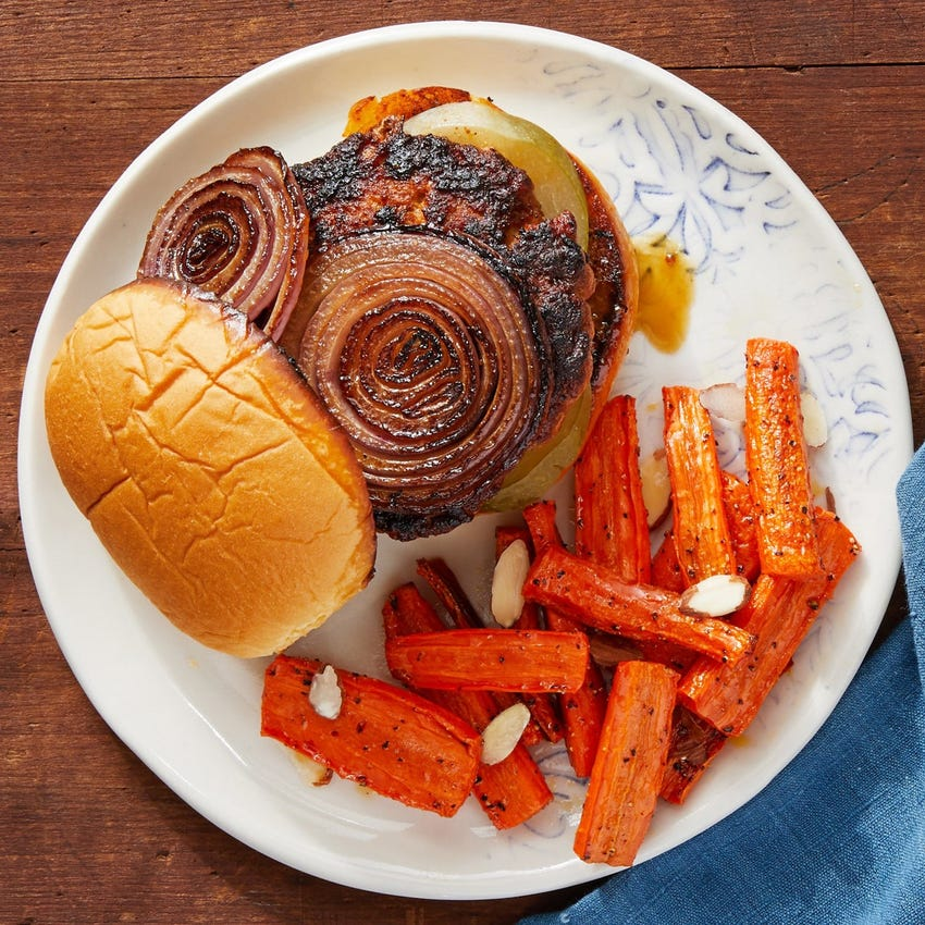Sweet & Smoky Pork Burgers with Roasted Carrots