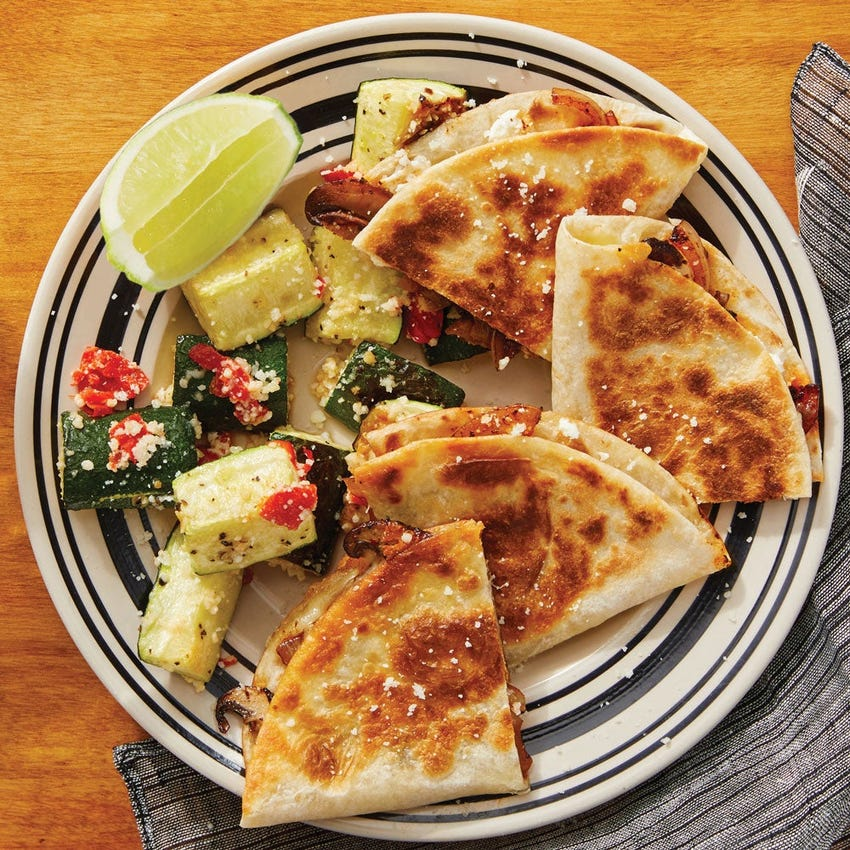 Goat Cheese & Mushroom Quesadillas with Lime-Dressed Zucchini