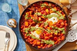 Indian-Style Egg Skillet with Potatoes, Chickpeas & Cilantro Sauce
