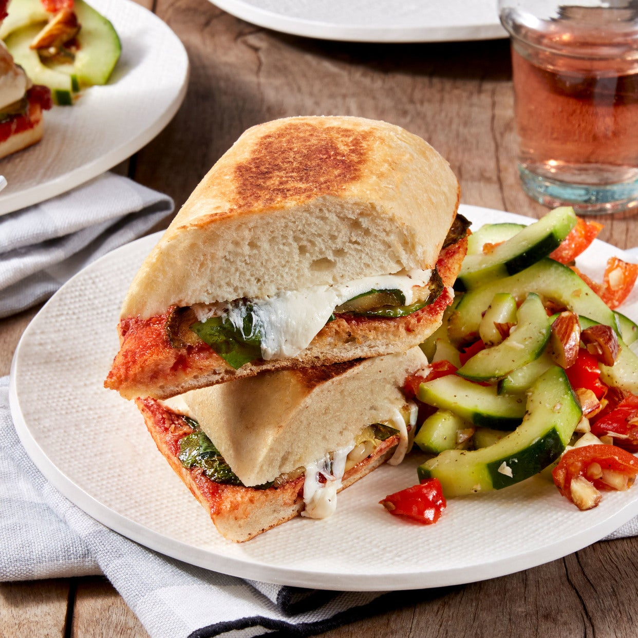 Summer Squash Pizza Paninis with Cucumber & Pickled Pepper Salad