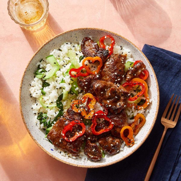 Cumin-Sichuan Beef & Peppers with Bok Choy & Brown Rice
