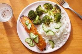 Miso-Honey Salmon with Sesame-Roasted Broccoli & Garlic Rice