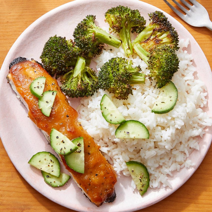 Miso-Honey Salmon with Sesame-Roasted Broccoli & Garlic Rice