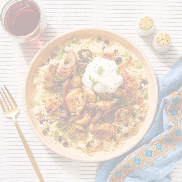 Romesco Chicken & Poblano Pepper with Currant Couscous & Labneh