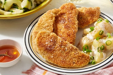 Crispy Chicken Tenders & Hot Honey with Potato Salad & Marinated Cucumber