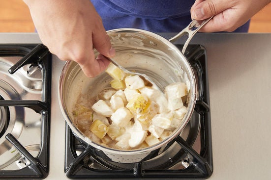 Cook the potatoes & make the potato salad: